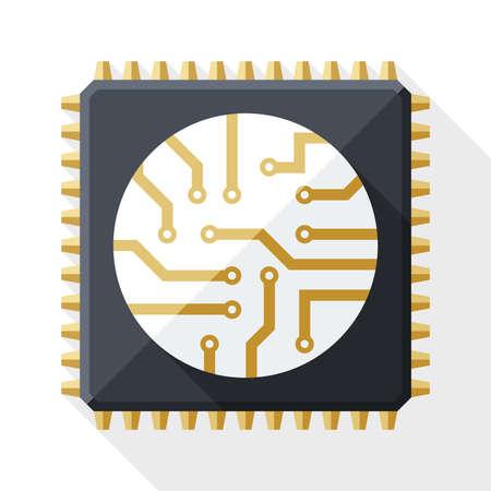 白い背景上の長い影を持つプロセッサのアイコン