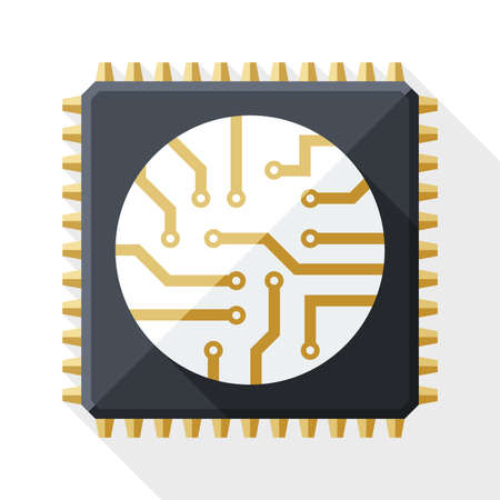 Processor icon with long shadow on white background