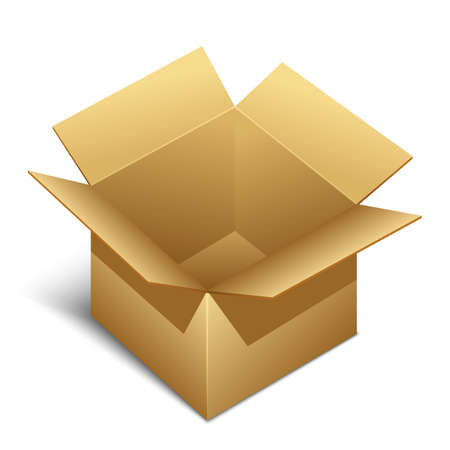 brown box: Opened brown paper box icon with shadow, vector Illustration