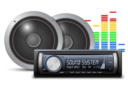 Autoradio met speakers. Vector illustratie