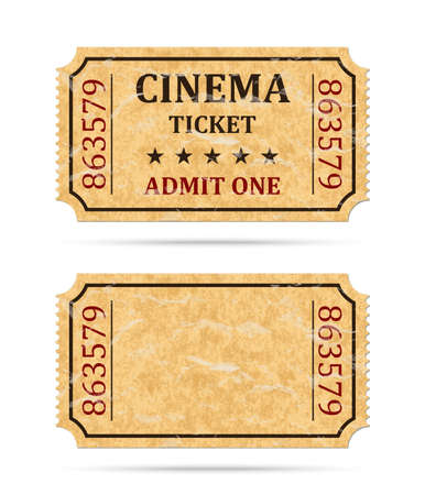 old movie: Retro cinema ticket and empty ticket