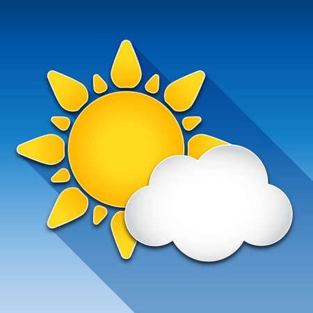 meteorology: Sun and cloud with long shadow Illustration