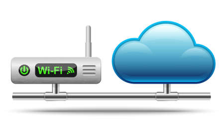 Icon of a wireless router connected to a cloud.  Vector Illustration