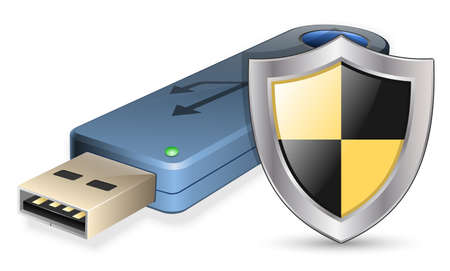 usb disk: Data Protection Icon - USB Flash Drive with Shield. Vector illustration