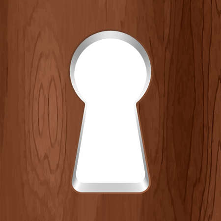 furtively: Vector keyhole in a wooden door