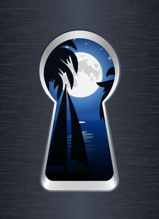 snooping: Night on the sea and palm trees are seen through the keyhole. Vector illustration