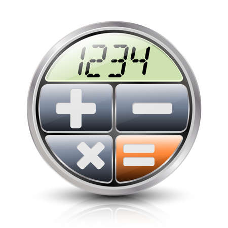 div: Calculator icon with reflection and shadow on a white background