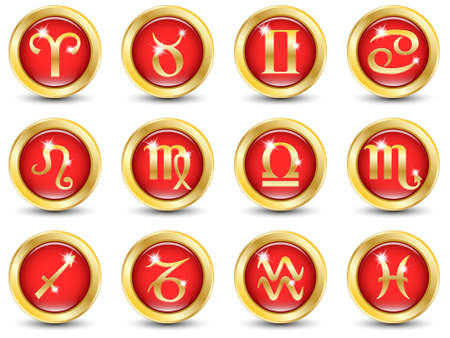 astrology signs: Set of the Golden Zodiac Signs. Vector