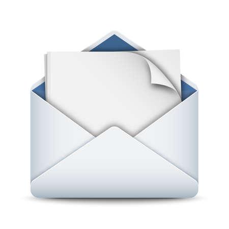 Briefumschlag-Symbol mit einem leeren Blatt Papier, Vektorgrafik Standard-Bild - 41922592