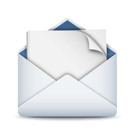 sobres para carta: Icono del sobre con una hoja de papel en blanco, vectoriales