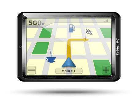 gps device: Tablet PC with GPS in original design. Vector Illustration