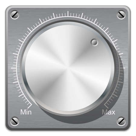 shiny buttons: Volume knob with calibration on metal plate, vector