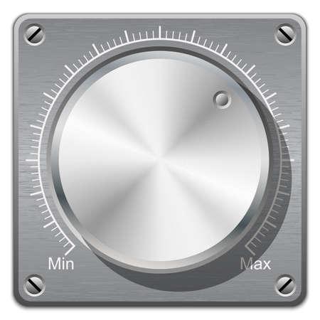 calibration: Volume knob with calibration on metal plate, vector