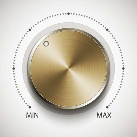volume knob: Volume knob with gold texture, realistic vector illustration