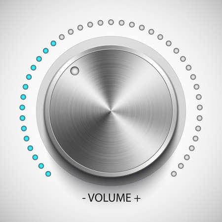 Volume knob with metal texture, realistic vector Illustration