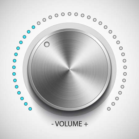 volume knob: Volume knob with metal texture, realistic vector Illustration