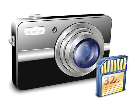telephoto: Compact Photo Camera with Memory Card. Vector Illustration