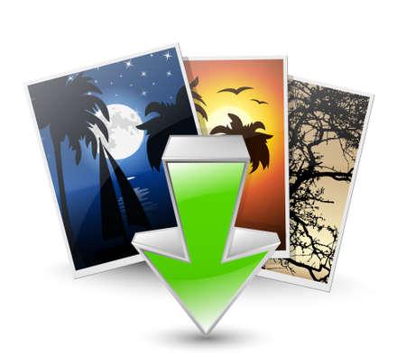 season photos: Download photos icon. Vector illustration