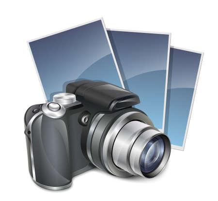 telephoto: Photo camera and photos. Vector illustration Illustration