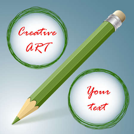 resemble: Creative art concept. Pencil with two doodle circles resemble a percent sign. Ideal for sales or special offers Illustration