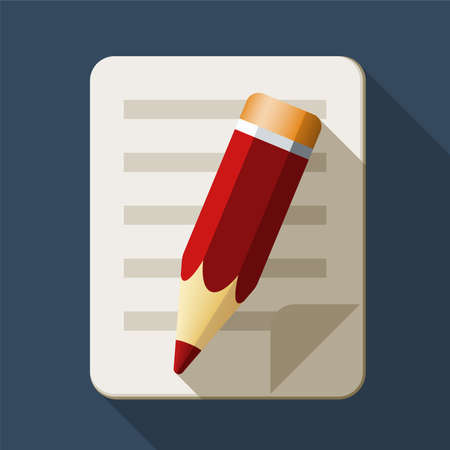 attestation: Notebook and pencil icon in flat style with long shadow Illustration