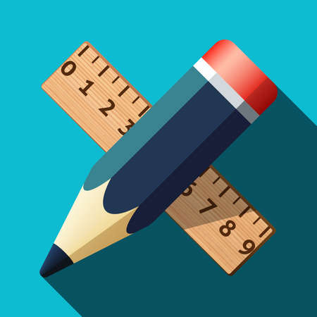 millimetre: Pencil and ruler icon with long shadow