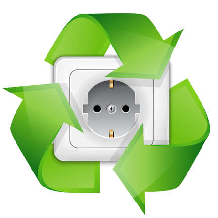 electric green: Power outlet with recycle symbol - renewable energy concept. Vector illustration Illustration
