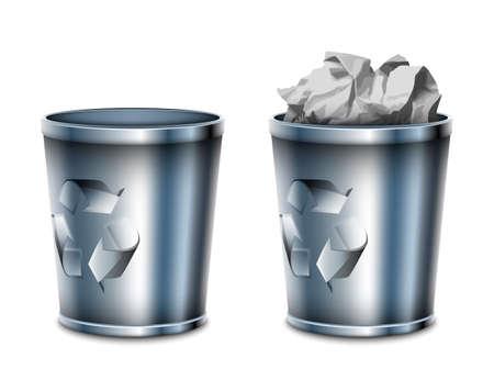 botes de basura: Bote de basura iconos vac�os y llenos, ilustraci�n vectorial