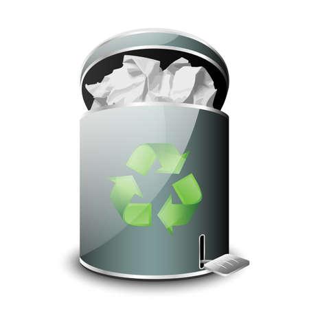 wastepaper basket: Full Trash Icon. Vector