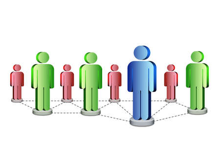 Business human network concept with leader, vector illustration