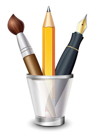 fountain: Vector Icon of the Brush, Pencil and Fountain Pen in the Holder