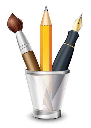 Vector Icon del pennello, matita e penna stilografica sul supporto