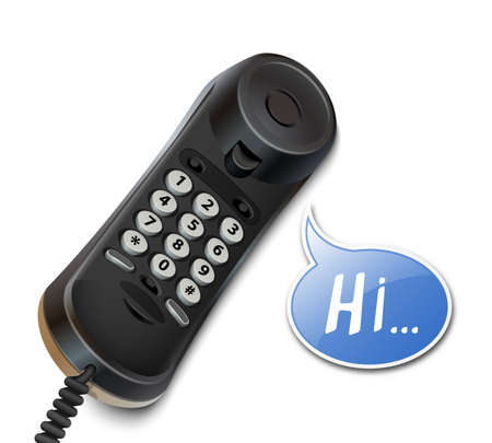 speech bubble vector: Telephone handset and speech bubble. Vector illustration