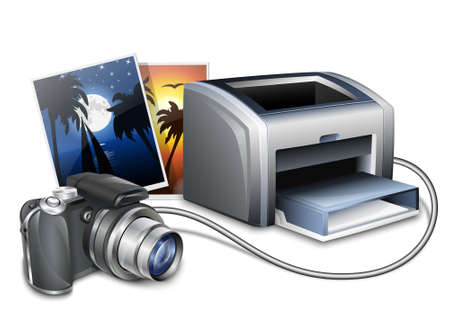 Digital camera connected to a color laser printer and printed photos. Vector illustration