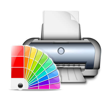 color printer: Printer icon with color palette. Vector Illustration
