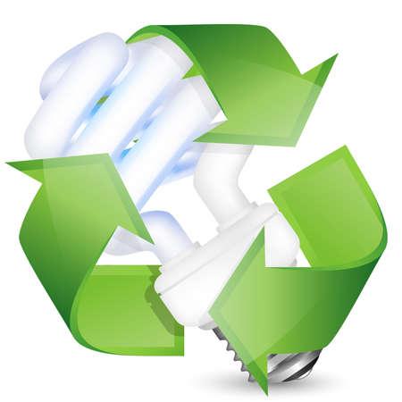 ahorro energetico: El ahorro de energía bombilla fluorescente con el signo de reciclaje. Ilustración vectorial