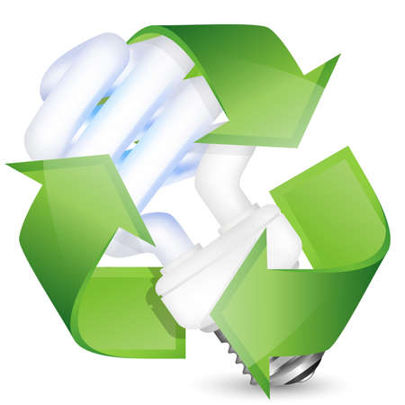 saving: Energy saving fluorescent light bulb with recycle sign. Vector illustration Illustration