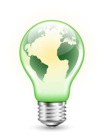 green light bulb: Green light bulb with Earth map inside it Illustration