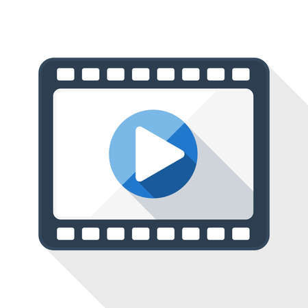 media player: Media player flat icon with long shadow on white background Illustration