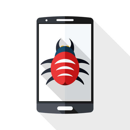 backdoor: Smart phone icon infected by malware with long shadow on white background