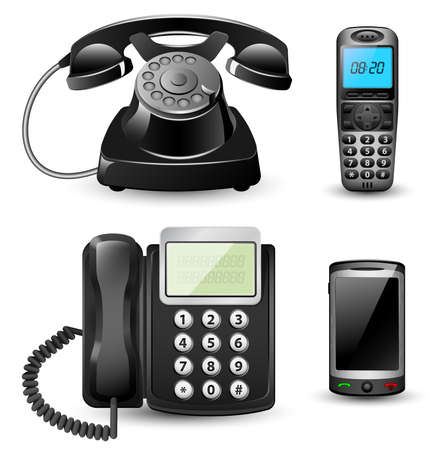 call center office: Vector telephone sets isolated on white background Illustration