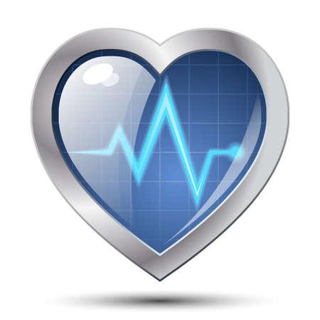 bosom: Diagn�stico del coraz�n icono. Vector