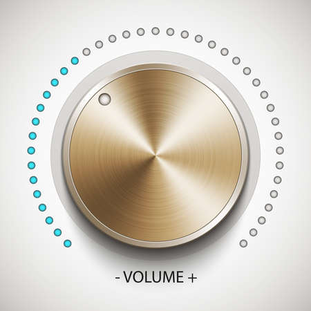 volume knob: Volume knob with gold texture, realistic vector