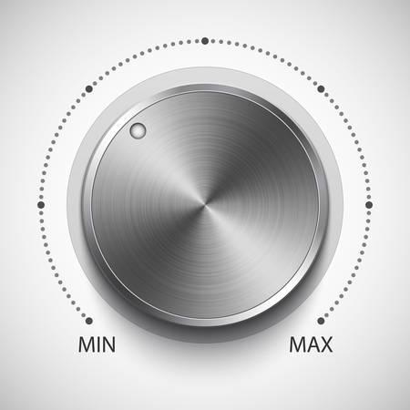 adjust: Volume knob with metal texture, realistic vector illustration Illustration