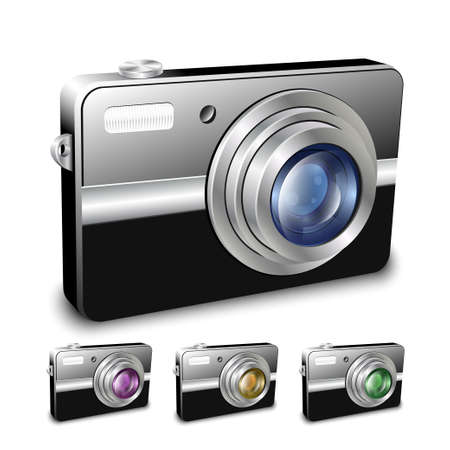 tour operator: Digital compact camera. Vector illustration