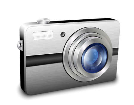 photo camera: Digitale compatta macchina fotografica. Vettore