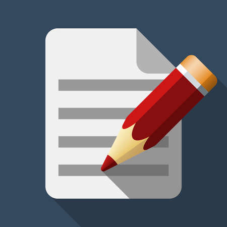attestation: Document and pencil icon in flat style with long shadow
