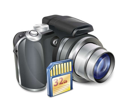 Digitale fotocamera met Memory Card. Vector Illustratie
