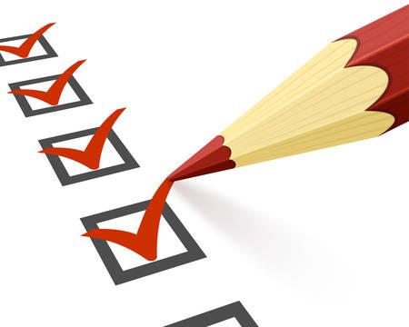 白い背景の上のチェックリストと鉛筆のクローズ アップ