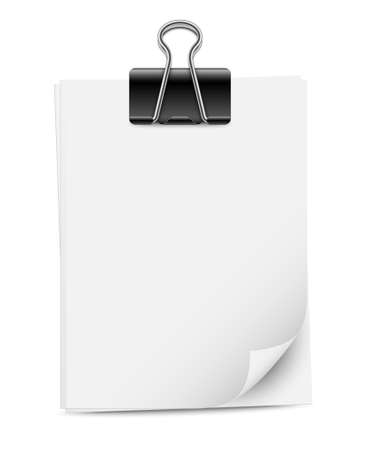 paper sheets: Paper sheets with binder clip, vector illustration
